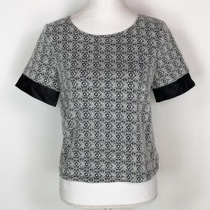 NWT THML Black & White Diamond Party Top